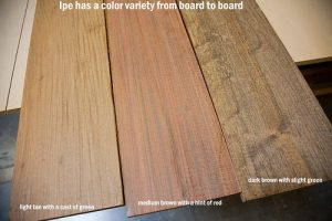 Different colors of ipe wood