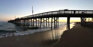 orange county beach pier during sunset
